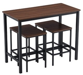 Zimtown Industrial Breakfast Bar Table and Stool Set Kitchen Counter with 4 Stools