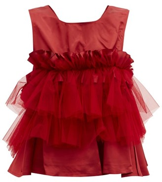 Noir Kei Ninomiya Ruffled Mesh-trimmed Top - Red
