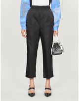 Prada Cropped straight-leg high-rise shell trousers