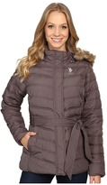 U.S. Polo Assn. Belted Puffer Jacket with Faux Fur Hood Trim
