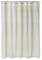 Threshold Shower Curtain - Tan Embroidered