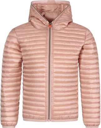 Save The Duck Pink Girl Jacket With Iconic Logo