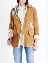 Valentino Floral-embroidered shearling coat
