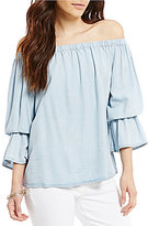 Sanctuary Charlotte Chambray Off-the-Shoulder Bell Sleeve Blouse