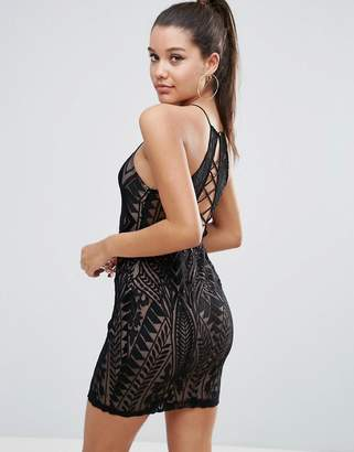 Love Triangle All over Lace Strappy Back Mini Bodycon Dress-Black