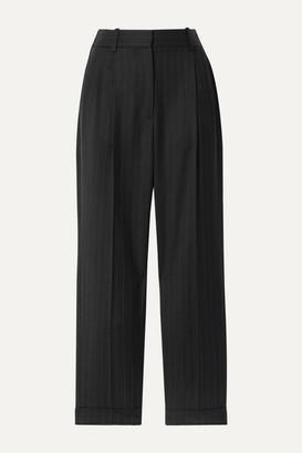 Nili Lotan Montana Cropped Pinstriped Wool-blend Twill Tapered Pants - Black