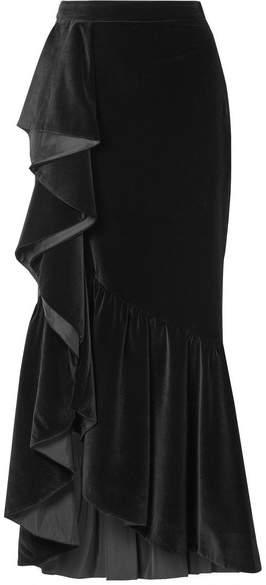 Alice + Olivia Alice Olivia - Arianna Ruffled Velvet Maxi Skirt - Black