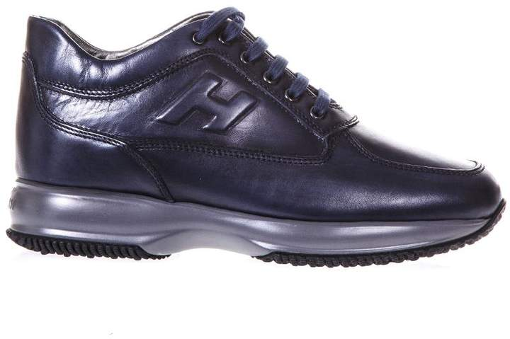 Hogan Blue Interactive Leather Sneakers