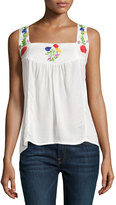 Raga Embroidered Peasant Tank, Eggshell