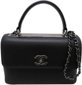 Chanel Black Leather CC Top Handle Bag