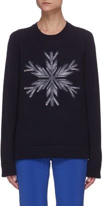 Aztech Mountain Snowflake Graphic Print Wool Sweater