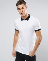 French Connection Polo Shirt with Zip and Contrast Cuff