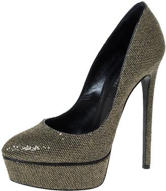 Casadei Black/Gold Glitter Lame Fabric Daisy Platform Pumps Size 38