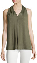 Max Studio V-Neck Jersey Top, Army