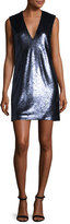 Elizabeth and James Wesley Sequined V-Neck Shift Dress, Black/Navy