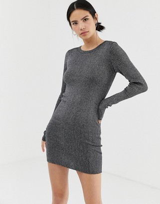 Brave Soul chunky cable knit jumper dress in black