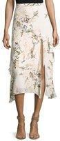 Haute Hippie The Garden Floral Silk Midi Skirt, White