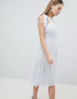 Lipsy Multiway Midi Chiffon Dress-Silver