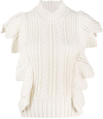 Zadig & Voltaire Fashion Show Lila ruffle-trimmed knitted top