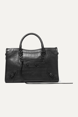 Balenciaga Classic City Croc-effect Leather Tote - Black