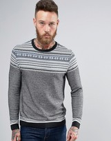Asos Knitted Sweater With Pattern Design In Gray