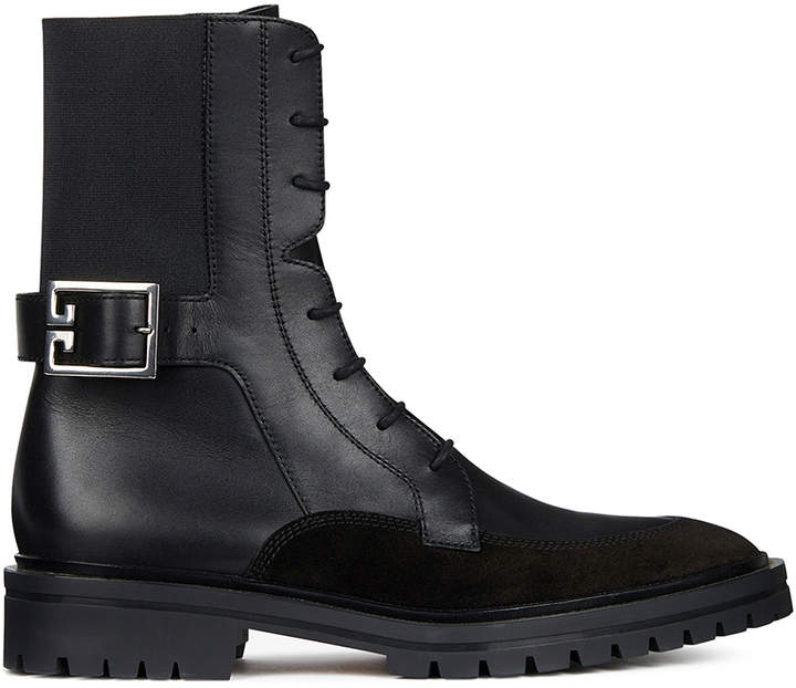 Givenchy Leather & Suede Aviator Lace Up Ankle Boots