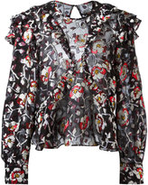 Isabel Marant rose embroidery blouse - women - Silk/Polyester - 36