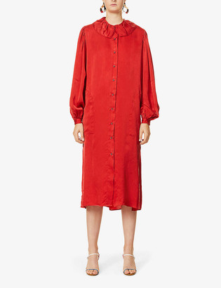 UMA WANG Aria puffed-sleeve satin midi dress