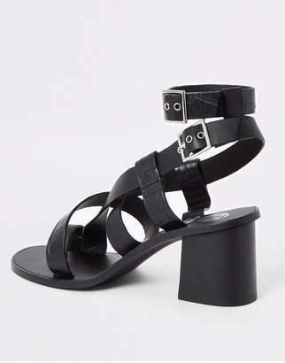 River Island Leather Toe Ring Block Heel Sandals - Black