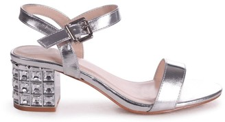 Linzi MISTY - Silver Metallic Mid Heel with Diamante Block Heel