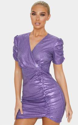 PrettyLittleThing Purple Sequin Ruched Wrap Detail Short Sleeve Bodycon Dress