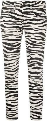R 13 Zebra-Print Cropped Jeans