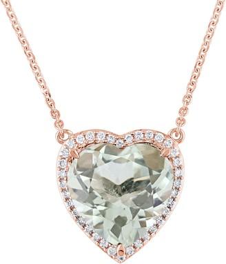 Bellini 4.6 ct Green Quartz & 1/6 cttw Diamond Heart Necklace