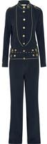 Pierre Balmain Washed-silk Jumpsuit - Navy