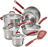 Rachael Ray Stainless Steel 11-Piece Cookware Set, Red Handles