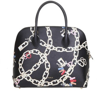 Furla Code M Leather Hand Bag With Print