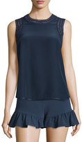 Elizabeth and James Vivi Crochet-Trim Sleeveless Silk Top, Navy