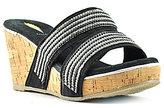 Volatile Candied Textile Banded Rhinestone Embellished Slide Wedge Sandals