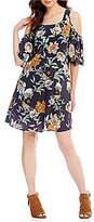 Cupio Cold Shoulder Floral Swing Dress