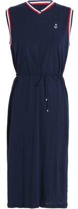 Zimmermann Meridian Anchor Belted Linen And Cotton-blend Jersey Dress