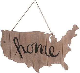 Transpac Wood 23 in. Brown 4th of July Home USA Cutout Wall Sign