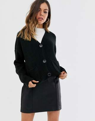 New Look rib button front cardigan in black