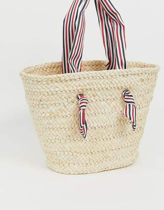 South Beach straw beach bag with striped handle