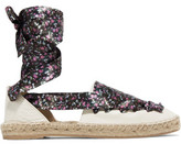 Iris and Ink Floral-Print Lace-Up Textured-Leather Espadrilles