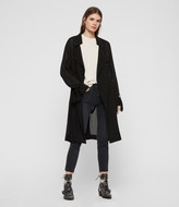 AllSaints Women's Traditional Bria Trench Coat, Black, Size: S