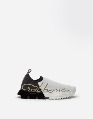 Dolce & Gabbana Stretch Jersey Sorrento Sneakers With Patent Leather Heel