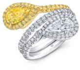 Rahaminov Diamonds Two-Tone 18K Gold & Diamond Bypass Ring, Size 6