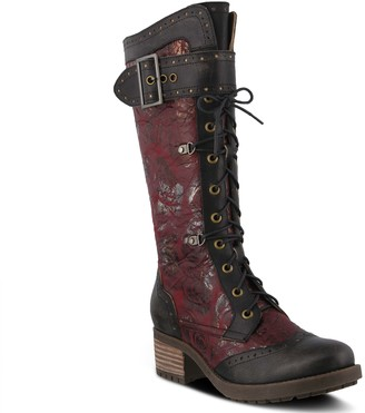 Spring Step L'Artiste Tall Leather Combat Boots - Kisha