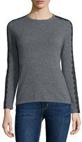 Neiman Marcus Long-Sleeve Crewneck Cashmere Sweater w/ Lace Trim