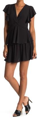 FAVLUX Tiered Flutter Sleeve Mini Dress